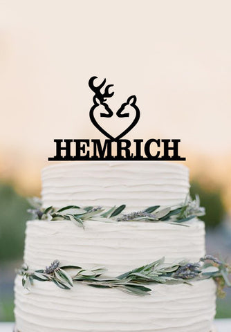 Deer wedding cake topper, , the hunt is over, unique wedding cake topper with your last name