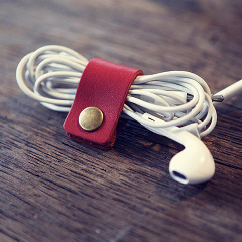 Handmade leather earphone organizer/ Earbud Case cord / Leather Cable Organizer/