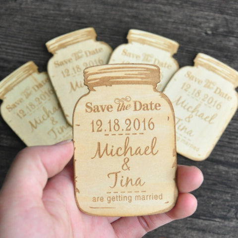 Mason Jar Magnets, Wooden Save The Date Magnets, Engraved Magnets, Rustic Save The Dates Wood Save-The-Date Magnets