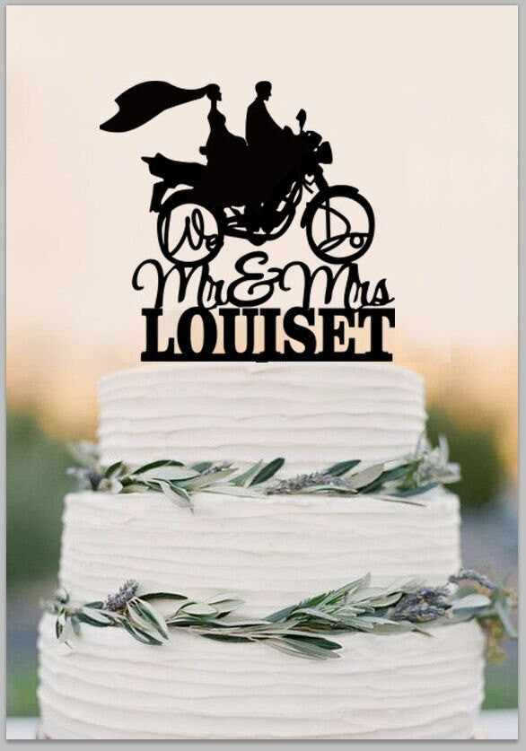 Mr And Mrs Wedding Cake Topper With Last Name,Bride And Groom On motorcycle Silhouette,Custom Cake Topper,Couple on Moto Cake Topper
