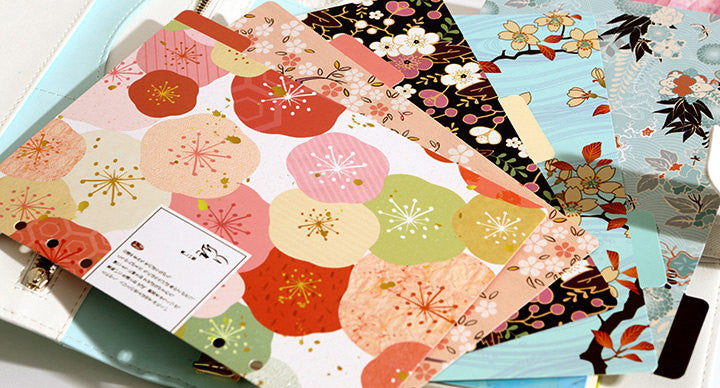 Japanese pattern dividers/A5 index/ personal Filofax dividers/cherry flowers Dashboard/
