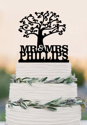 Love Tree Cake Topper,Mr And Mrs Cake Topper With Last Name,Custom Cake Topper,Wedding Cake Topper,Party Cake Topper
