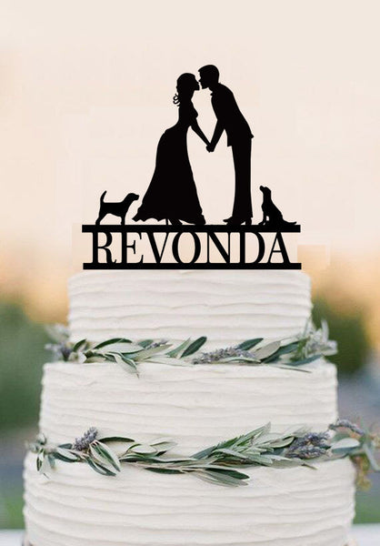 Bride And Groom Silhouette Wedding Cake Topper Mr & Mrs Dog Cake Topper