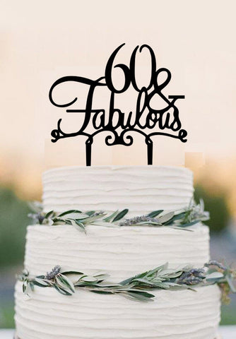 60 Cake Topper FABULOUS 60th Birthday Wedding Sixtieth