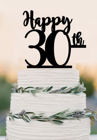 Happy 30th Cake Topper, 30 Thirty Birthday topper ,Wedding Cake Topper