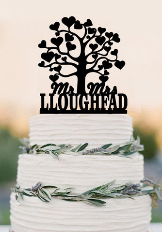 tree cake topper / rustic cake topper / heart cake topper / wood cake topper / unique love Last Name