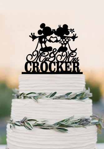 Custom Wedding Cake Topper, Mouse Cake Topper,Mr and Mrs with last name cake topper,acrylic wedding cake topper