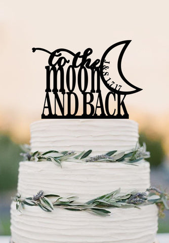 To The Moon And Back Wedding Cake Topper,romantic wedding cake topper with Initial cake topper