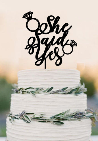 She Said Yes wedding cake topper,Bridal Shower cake topper,Cake Decoration,bride to be cake topper