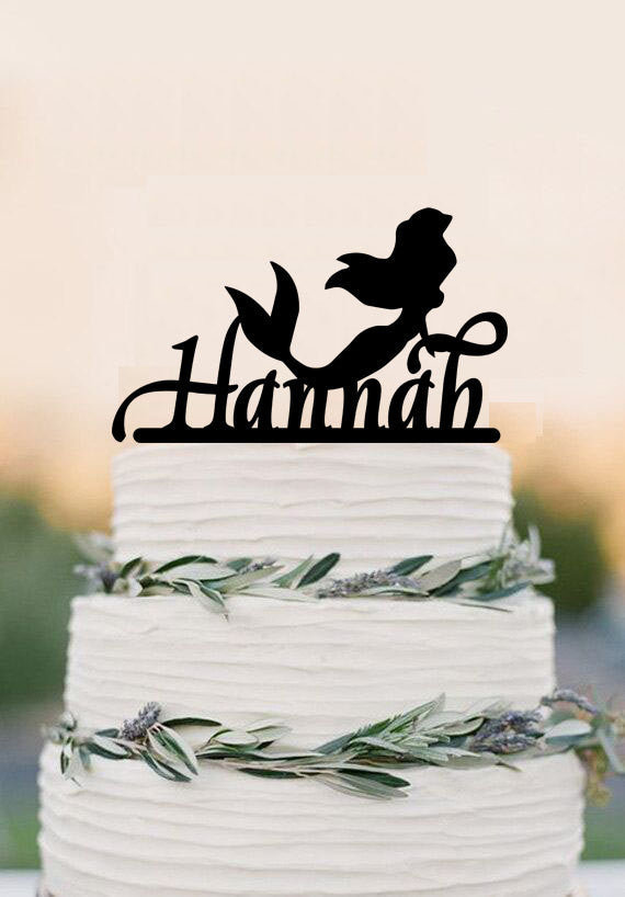Personalised Little Mermaid Cake Topper, birthday cake toppers, wedding bridal shower, baby shower cake topper, Bachelor party decorations