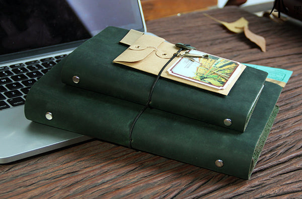 A5 Genuine green Leather Notebook/Personal size ring binder Leather journal/refillable planner/ gift set