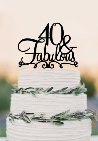 40 Cake Topper FABULOUS 40th Birthday Wedding