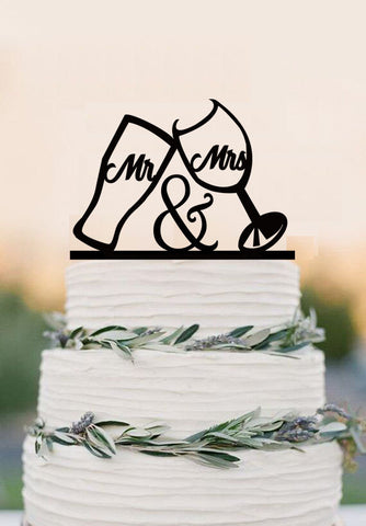 Copy of Wedding Cake Toppers, Rustic Mr and Mrs Topper, Laurel wedding cake topper with Mr and Mrs
