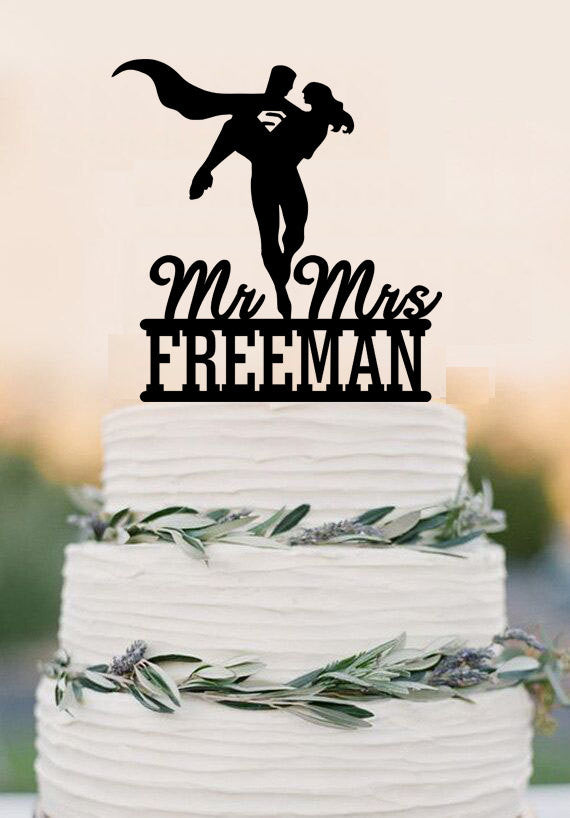 Superhero Wedding Cake Topper Bride and Groom Wedding Cake Topper Unique Wedding Cake Topper,Funny cake topper With Last Name