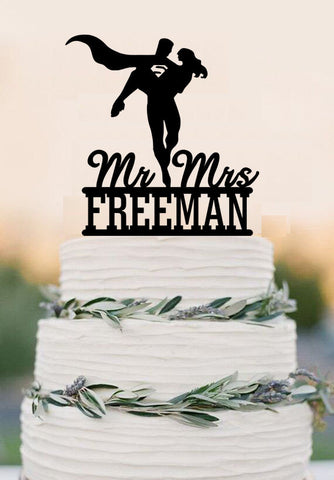 Superhero Wedding Cake Topper Bride And Groom Wedding Cake Topper Unique Wedding Cake Topper Funny Cake Topper With Last Name