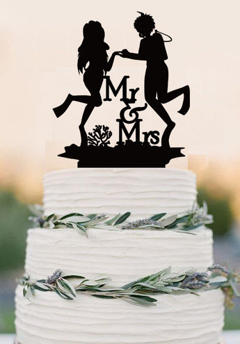 Scuba Diving Cake Topper - Couple Event Cake Topper-Diving Bride and Groom Wedding Cake Topper