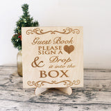 Wedding Drop Box, Wedding guest book alternative, personalized wood guest book, rustic wedding guestbook, Drop Top guestbook