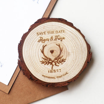 Rustic Antler wedding save the date. Personalized save the date magnet.rustic wedding.wooden slice save the date
