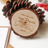 Polar bear love wood slice magnet. Personalized save the date magnet.rustic wedding.wedding favors
