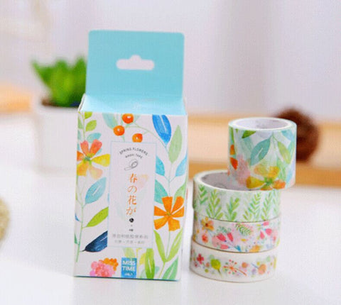Spring Flowers Washi Tape, 4 SET Washi Tape, Japanese Masking Tape, Scrapbooking Stickers, Planner Stickers-T048