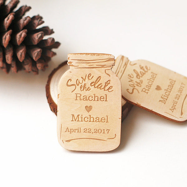 Personalized Mason Jar Save the Date Magnets