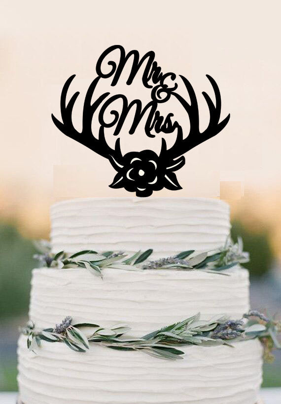 Wedding Cake Topper Deer Antlers Mr Mrs Cake Topper Rose Flowers Cake Topper