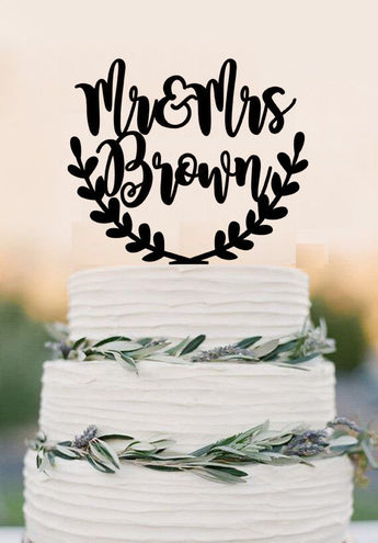 Personalized Acrylic cake topper, wedding cake topper, Last names cake topper,