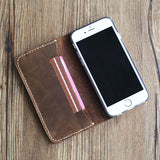 Handmade Leather IPhone 6 Case /Personalized Distressed Leather iphone 7 sleeve /iPhone 7 Plus Wallet Case/ iPhone 6s Plus case,