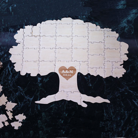 Wood Puzzle Pieces Wedding Guest Book Rustic and Fun Ideas TREE ...