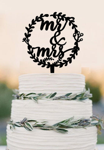 Wedding Cake Toppers, Rustic Mr and Mrs Topper, Laurel wedding cake topper with Mr and Mrs