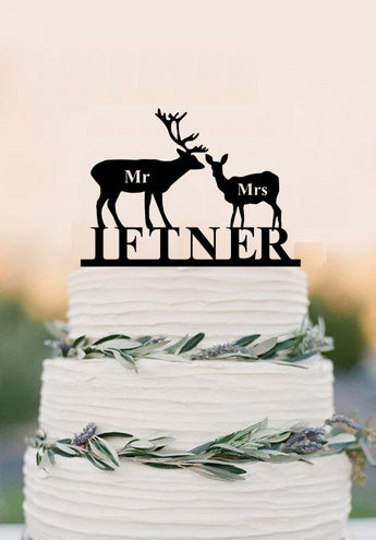 Deer Cake Topper Mr Mrs Wedding Cake Topper Custom Personalized with YOUR Last Name Rustic Wedding