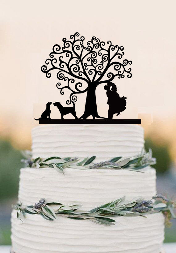 Wedding Cake Topper With Two Dogs Bride And Groom Silhouette Topper Wedding Cake Decoration