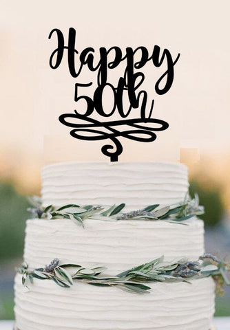 Custom Number Cake Topper 50th Anniversary Happy Birthday