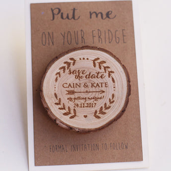 Arrow Save the Date Magnet, Rustic Save the Date, Wedding Favors, Wedding Invitations,Wooden slice Magnet