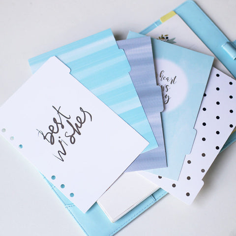 Winter theme dividers/A5 index/ Personal size planner dividers/ice blue Dashboard
