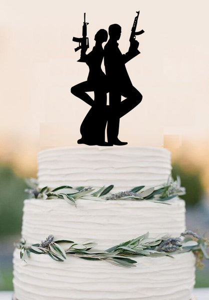 Gun Wedding cake topper, armed couple cake topper, wedding party decoration, acrylic spy cake topper