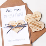 Heart wedding Save the Date ,Custom Save The Date Magnet,Wedding Save the Date Invitation,Wood engraved Magnets