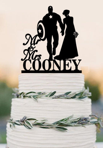 Custom Cake Topper Wedding Cake Topper, Super Hero Cake Topper,Mr and Mrs with last name cake topper,