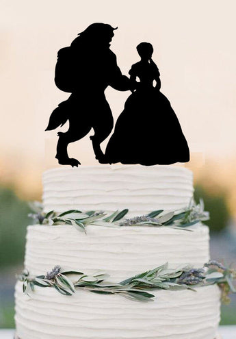 Beauty And the Beast Wedding Cake Topper,Disney Style Cake Topper,funny wedding topper