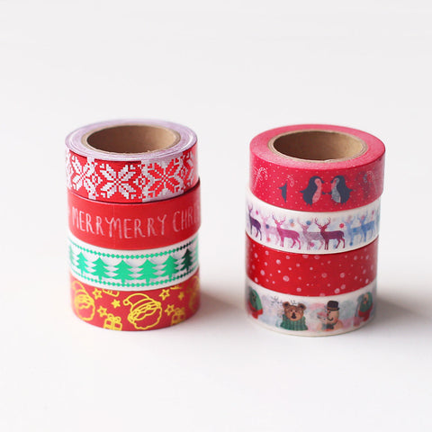 Christmas Washi Tape/christmas tree Masking Tape/penguin Stickers/reindeer Scrapbooking Stickers-T041
