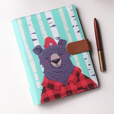 Bear A5 Planner cover woodland ring Binder filofax style planner personal size planner cover