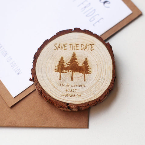 Pine tree wood slice magnet. Personalized save the date magnet.forest wedding.