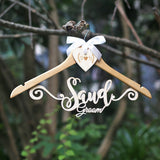 Personalized Wedding Hanger for bride groom, wooden initials heart dress hanger with name, rustic wedding, boho wedding, bridal hanger