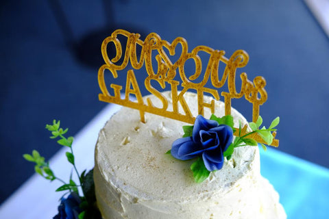 Wedding Cake Topper Mr and Mrs Topper Design With YOUR Last Name ,Glitter Gold ,Glitter Silver Cake topper
