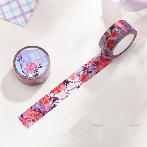 Shrub althea flower Washi Tape/purple and red Masking Tape/flower Stickers/Scrapbooking Stickers/20mm*10m-T015