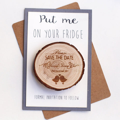 Love Birds Save the Date Magnet,personalized Engraved Save the Date ,Wedding Favor,Rustic Wedding Magnet ,Wood slice Magnets,With Envelopes