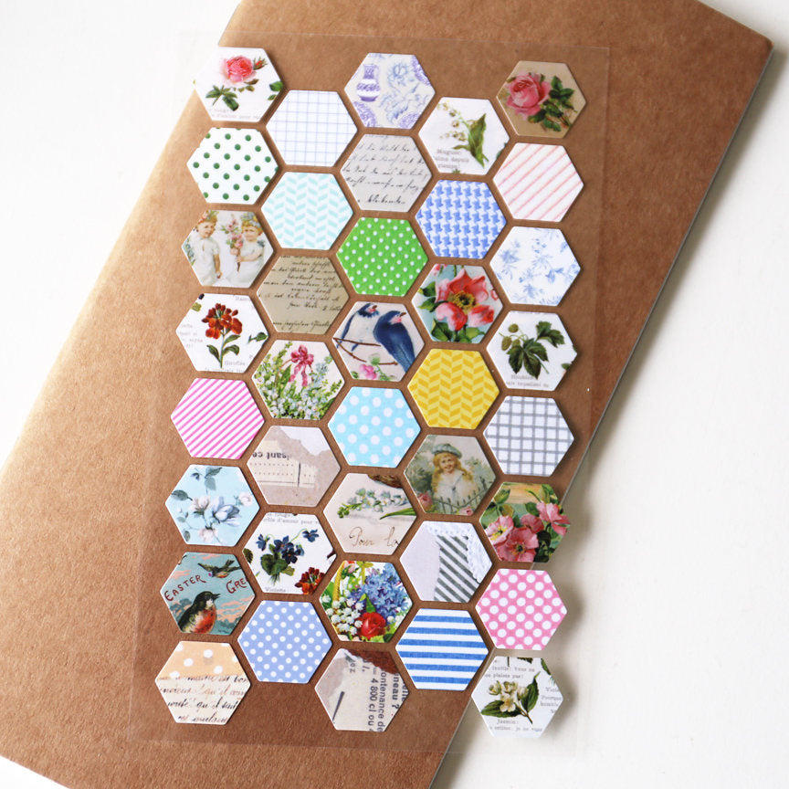 Hexagon  Stickers / Clear Labeling Sticker / Planner Stickers/ Filofax Stickers/Lap top stickers/Scrapbook Sticker