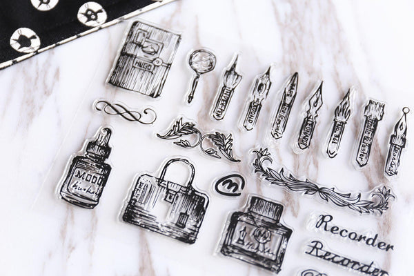 Calligraphy Tools & Nibs Transparent Stamp, Planner Stamp, pen stamp, cute stamp, kawaii stamp, Rubber transparent clear stamp/CS05