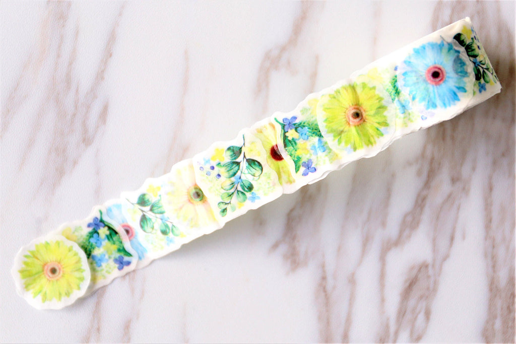Yellow & Oange Daisy  Washi Tape/ plower petal Striped Washi tape / flower Masking tape/ japanese washi tape/Planner Supplies