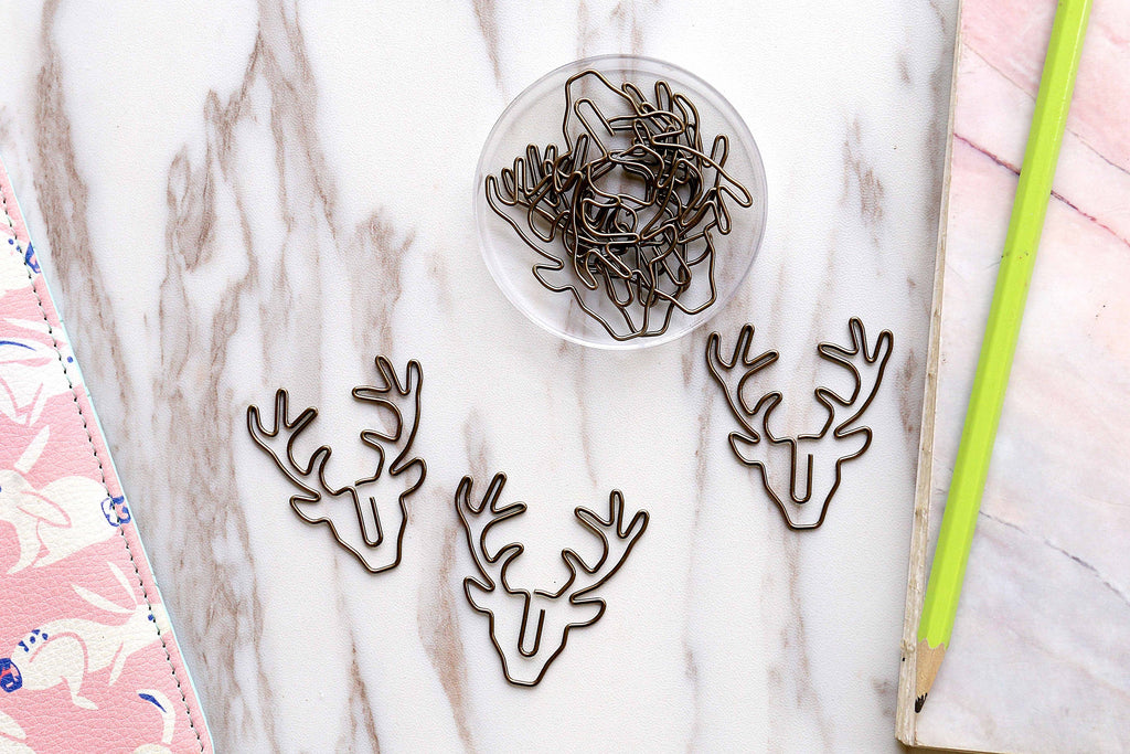 3pc Stag Deer Head Paper Clips/  bookmarks Metal Paper Clip /Binder Clips,  Office Supplies, Midori Clip Planner Accessories